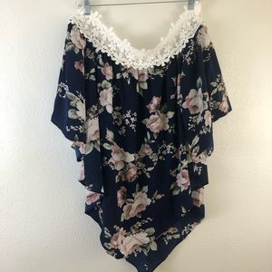Shein off the Shoulder Lace Asymmetrical Floral 1X